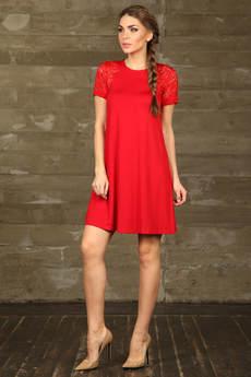 Платье с кружевными вставками на плечах Mondigo