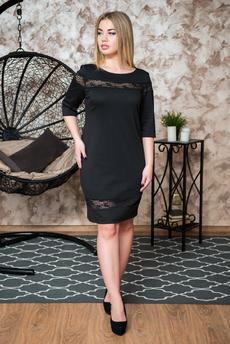 Черное платье с гипюром Шарлиз